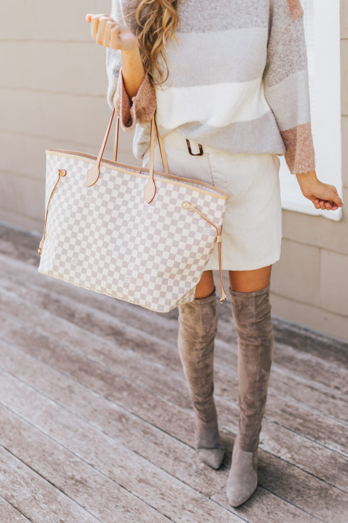 Goodnight Macaroon Blush Swaters with a white corduroy skirt and grey suede over the knee boots