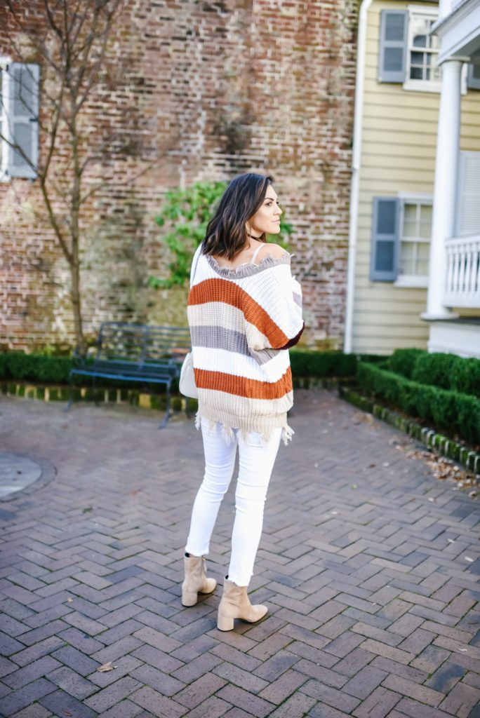 red dress boutique striped over sized distrusted sweater with white denim and m. gemi tan booties