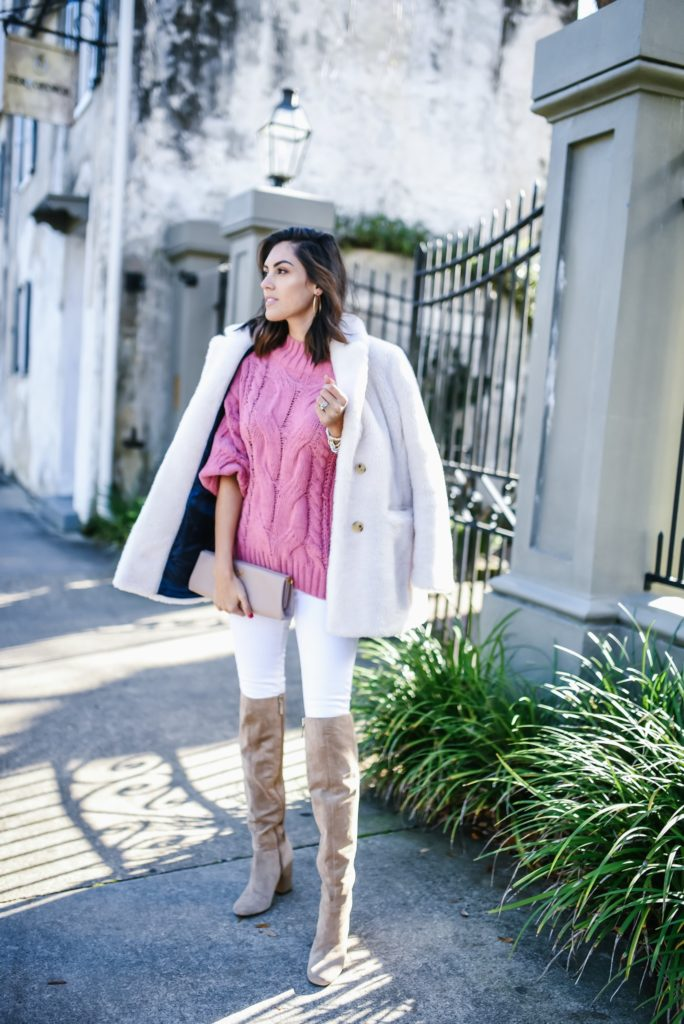 Red Dress Boutique Pink Off the shoulder quilted sweater with white jeans and beige over the knee boots