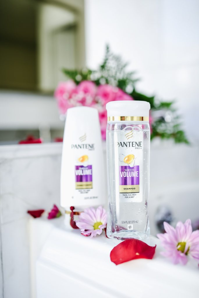 Pantene 14 Day Challenge Review, robe in bathroom, Pantene volume shampoo and conditioner