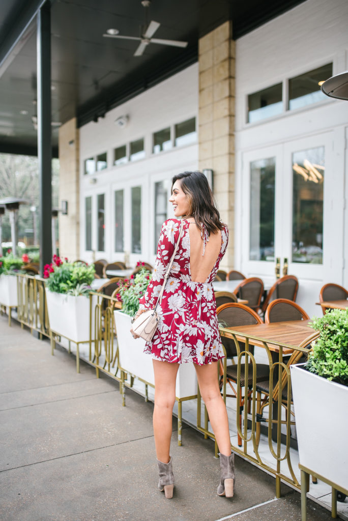 Flower Mini Dress with Jean Jacket and Marc Fisher Western Boot outfit for rodeo