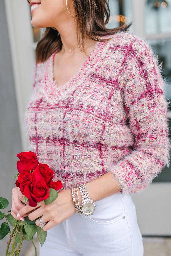 Goodnight Macaroon Tweed Texture Sweater for Valentines Day