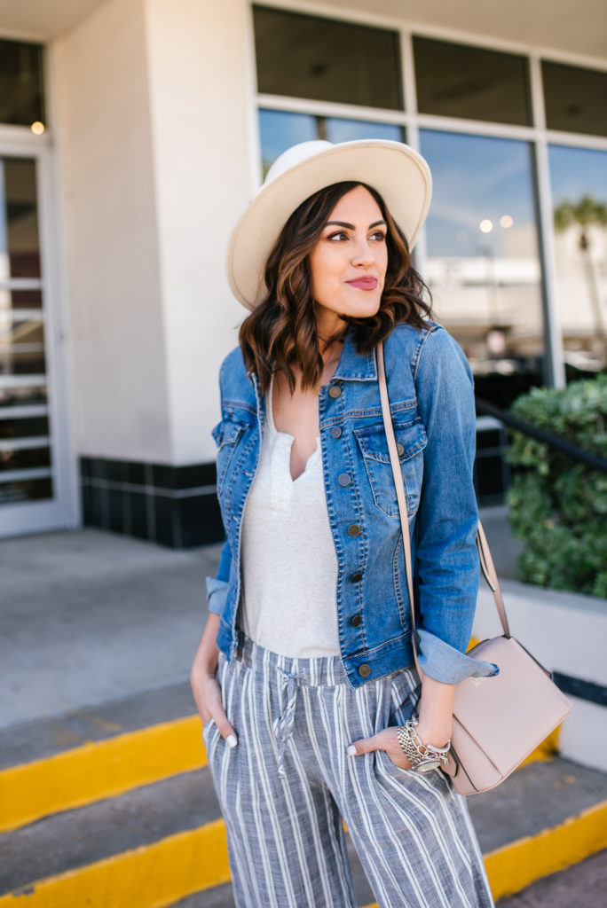 Striped Linen Pants with Jean Jacket and Ivory Hat for a Spring Look with Evereve
