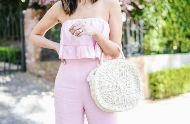 Revolve Pink Strapless Jumpsuit for spring