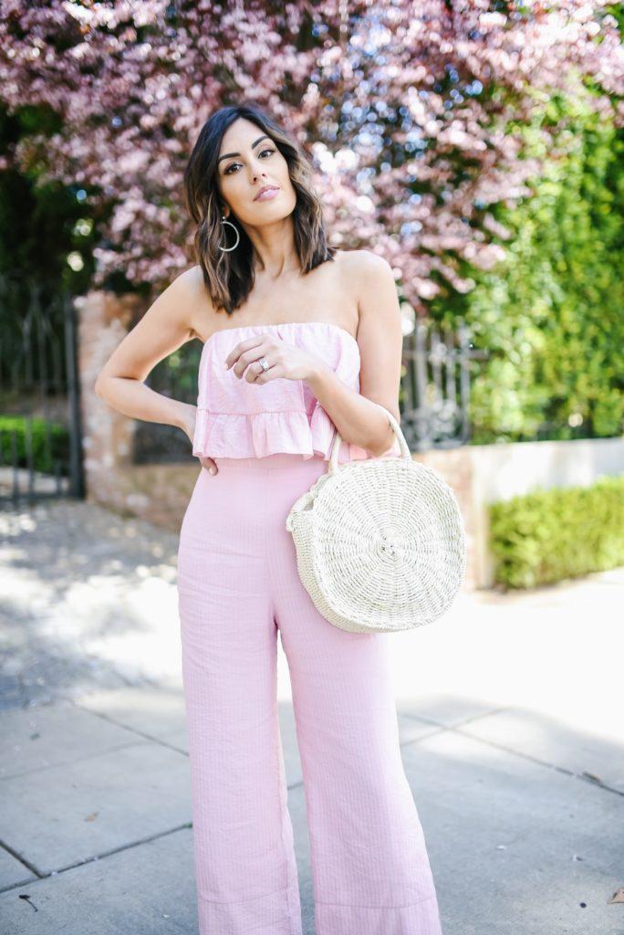 Revolve Pink Strapless Jumpsuit for spring